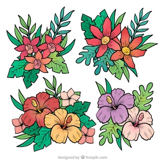 Lovely set of hand drawn tropical flowers