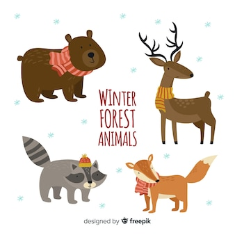 Lovely set of hand drawn winter animals