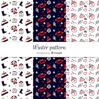 Lovely set of hand drawn winter patterns