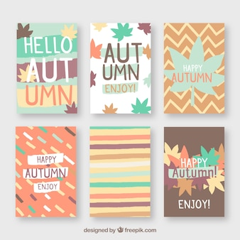 Lovely set of autumn cards with flat design
