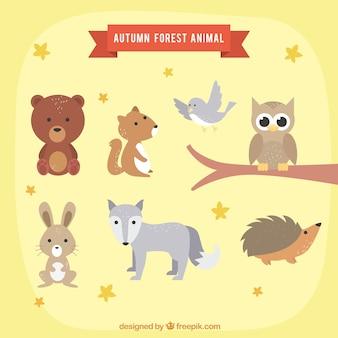 가을 동물의 사랑스러운 세트