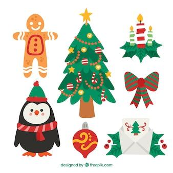 크리스마스 요소의 사랑스러운 세트