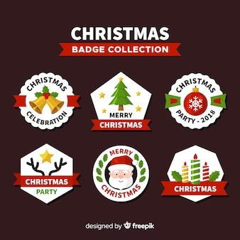 평면 디자인으로 크리스마스 라벨의 사랑스러운 세트