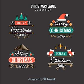 Прекрасный набор рождественских этикеток с плоским дизайном