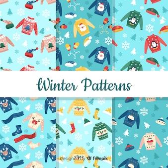 Прекрасный набор красочных зимних узоров