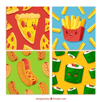 Lovely set of food cards with flat design