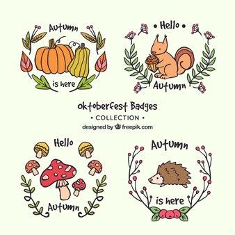 手描きの秋のバッジの素敵なセット