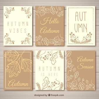 Lovely set of hand drawn autumnal cards