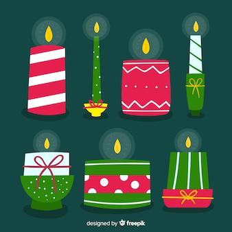 素敵な手描きのクリスマスキャンドルセット
