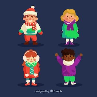 冬の服を着た幸せな子どもたちの素敵なセット