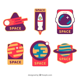Прекрасный набор космических значков