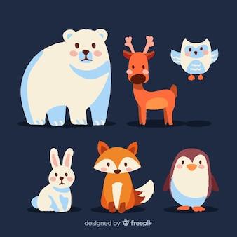 겨울 숲 동물의 사랑스러운 세트
