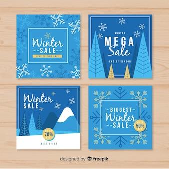 Прекрасный набор зимних распродажных карт Бесплатные векторы