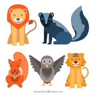 Lovely set of smiley animals