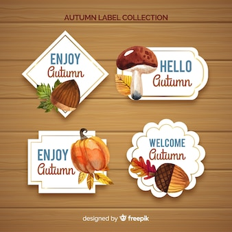 Lovely set of watercolor autumn labels