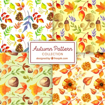 Lovely set of watercolor autumn patterns