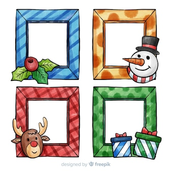 Lovely set of watercolor christmas frames