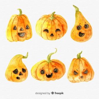 Lovely set of watercolor halloween pumpkins