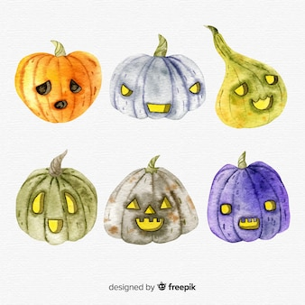 Lovely set of watercolor halloween pumpkins