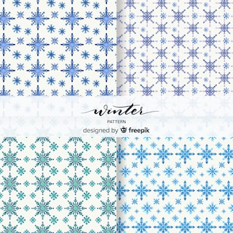 Lovely set of watercolor winter patterns