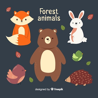 Lovely set of winter forest animals