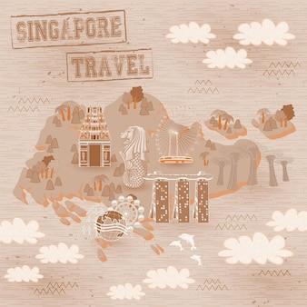 사랑스러운 싱가포르는 손으로 그린 스타일로 명소 여행 지도를 봐야 합니다.