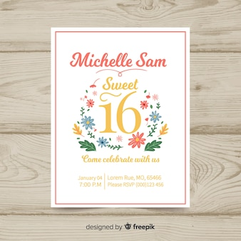 Lovely sixteenth birthday invitation card
