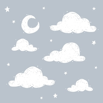 Lovely sky with crecent moon, clouds and stars