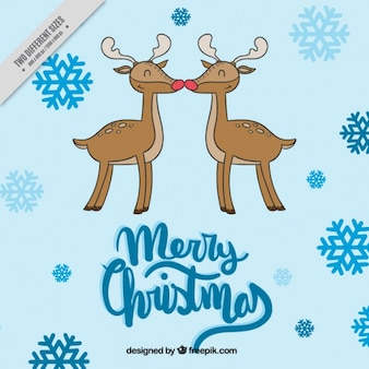 Lovely snowflakes background with reindeer couple