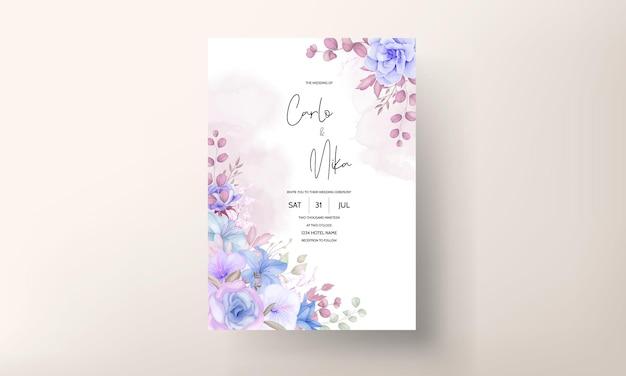 素敵な柔らかいピンクとブルーの花の結婚式の招待カード