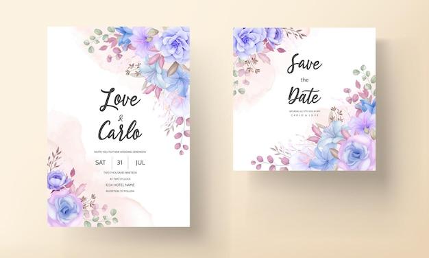 Прекрасный нежный розовый и синий цветочный свадебный пригласительный билет