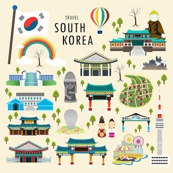 플랫 스타일의 사랑스러운 한국 명소 컬렉션