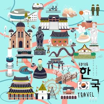 평면 디자인의 사랑스러운 한국 여행 컬렉션 - 오른쪽 하단의 한국어 단어로 된 한국