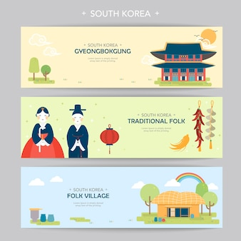 Lovely south korea travel concept banner in flat style