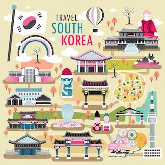 フラットなデザインの素敵な韓国旅行コンセプトコレクション
