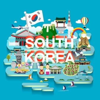 3dアイソメスタイルの素敵な韓国旅行地図