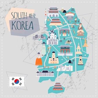 평면 스타일의 사랑스러운 한국 여행지도 - 왼쪽 상단의 한국어 단어로 된 한국