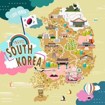 평면 스타일의 사랑스러운 한국 여행지도
