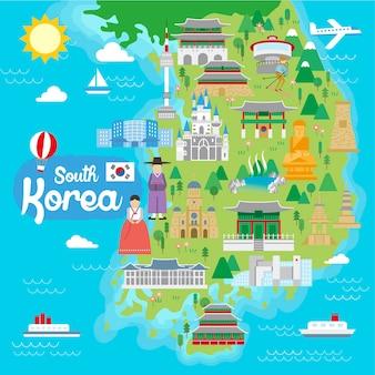 フラットスタイルの素敵な韓国旅行地図