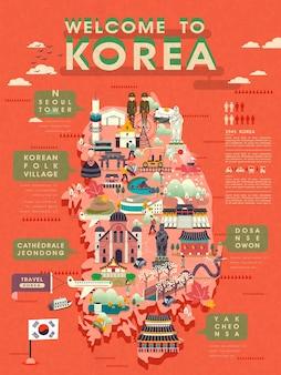 볼거리가 풍부한 사랑스러운 한국 여행지도