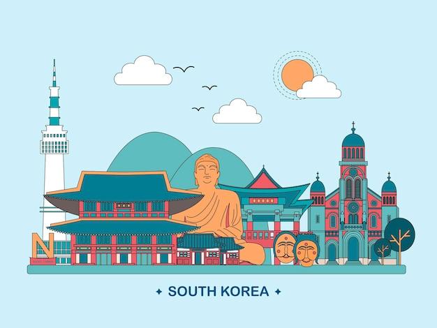 평면 스타일의 사랑스러운 한국 여행 포스터 디자인