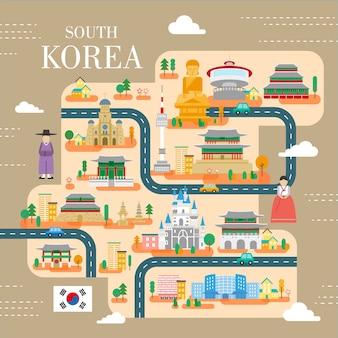 フラットスタイルの素敵な韓国旅行ポスター