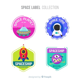 Lovely space badge collection with flat design