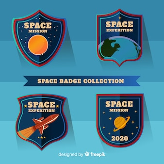Lovely space badges with flat design