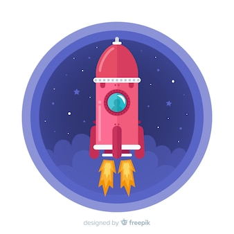 평면 디자인의 멋진 우주 로켓