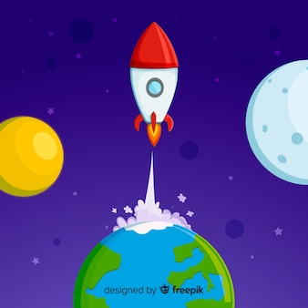 Lovely space rocket with flat design