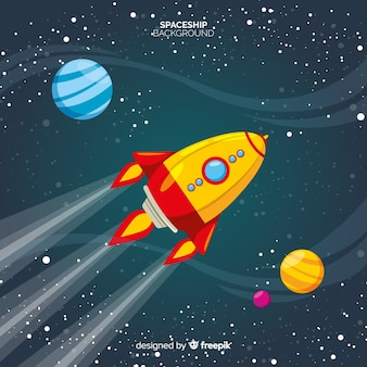 Lovely spaceship background with flat design