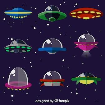 평면 디자인으로 사랑스러운 우주선 컬렉션