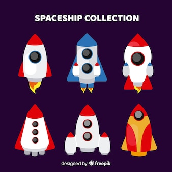 Lovely spaceship collection with flat design