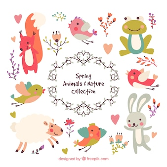 Lovely spring animals and nature set